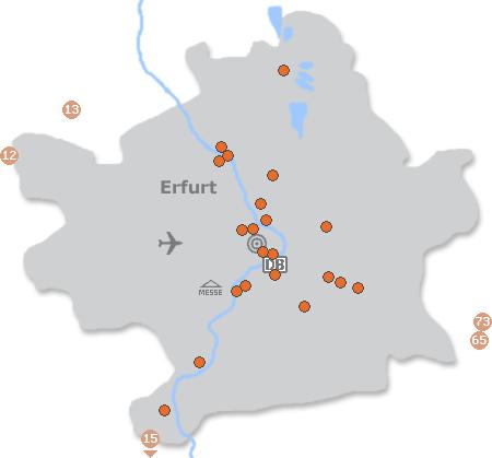 Karte mit Pensionen und anderen Unterkünften in Erfurt