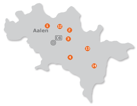Karte mit Pensionen und anderen Unterk�nften in Aalen
