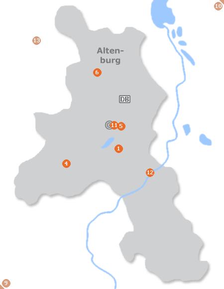 Karte mit Pensionen und anderen Unterkünften in Altenburg