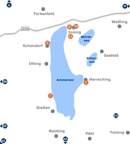 Karte mit Pensionen und anderen Unterkünften im Gebiet Ammersee