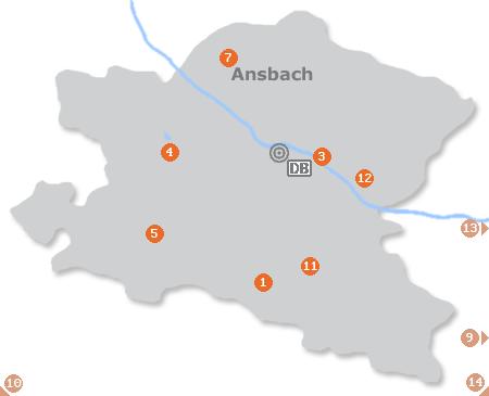 Karte mit Pensionen und anderen Unterkünften in Ansbach