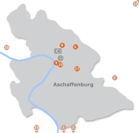 Karte mit Pensionen und anderen Unterk�nften in Aschaffenburg