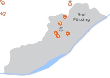 Karte mit Pensionen und anderen Unterkünften in Bad Füssing