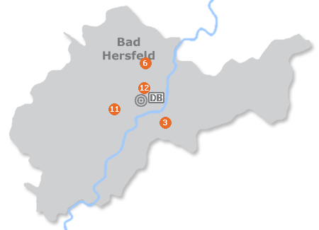 Karte mit Pensionen und anderen Unterkünften in Bad Hersfeld
