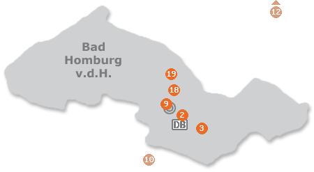 Karte mit Pensionen und anderen Unterk�nften in Bad Homburg