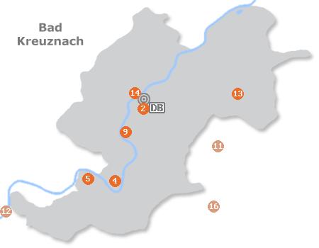 Karte mit Pensionen und anderen Unterkünften in Bad Kreuznach