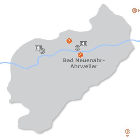 Karte mit Pensionen und anderen Unterkünften in Bad Neuenahr-Ahrweiler