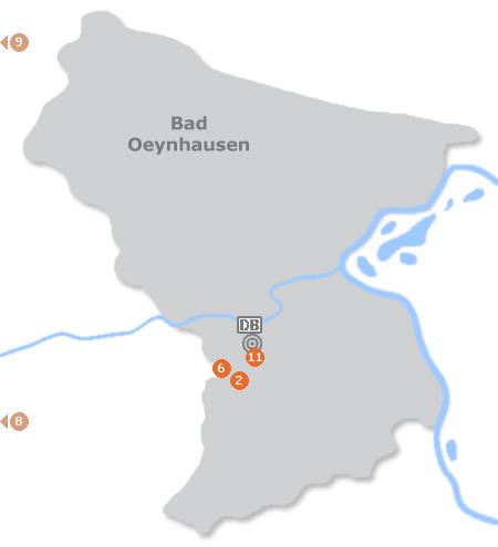 Karte mit Pensionen und anderen Unterkünften in Bad Oeynhausen