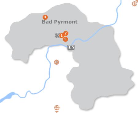 Karte mit Pensionen und anderen Unterkünften in Bad Pyrmont