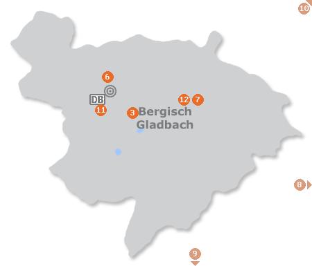 Karte mit Pensionen und anderen Unterk�nften in Bergisch Gladbach
