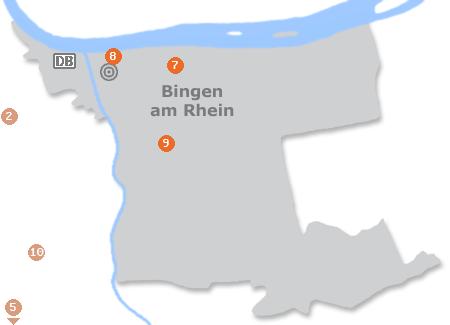 Karte mit Pensionen und anderen Unterkünften in Bingen am Rhein