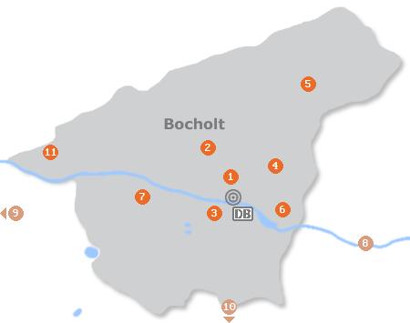 Karte mit Pensionen und anderen Unterkünften in Bocholt