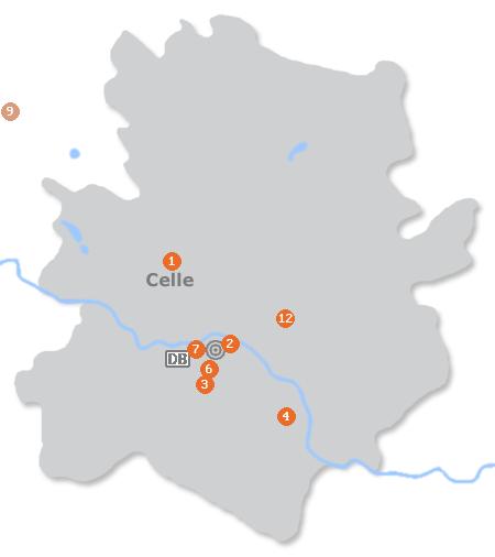 Karte mit Pensionen und anderen Unterkünften in Celle