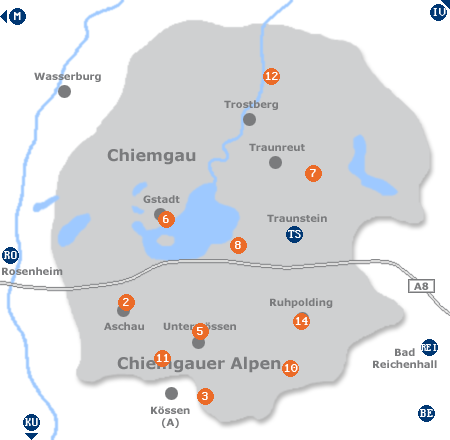 Karte mit Pensionen und anderen Unterkünften im Chiemgau