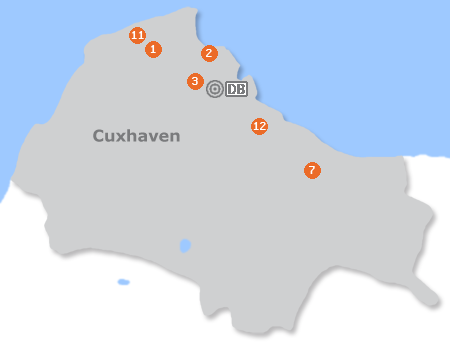 Karte mit Pensionen und anderen Unterkünften in Cuxhaven