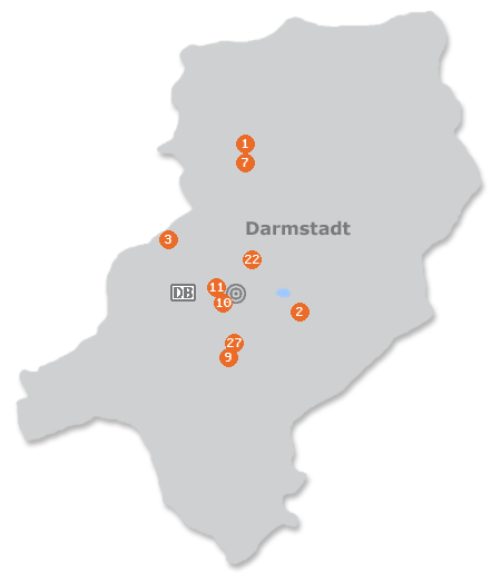 Karte mit Pensionen und anderen Unterk�nften in Darmstadt
