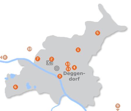 Karte mit Pensionen und anderen Unterk�nften in Deggendorf