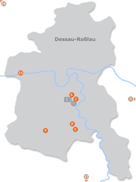 Karte mit Pensionen und anderen Unterkünften in Dessau-Roßlau