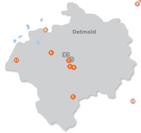 Karte mit Pensionen und anderen Unterkünften in Detmold