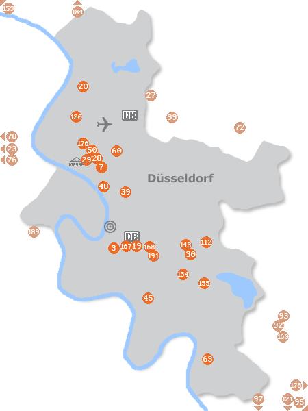 Karte mit Pensionen und anderen Unterkünften in Düsseldorf