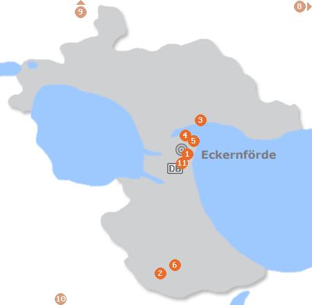 Karte mit Pensionen und anderen Unterkünften in Eckernförde