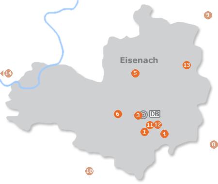 Karte mit Pensionen und anderen Unterkünften in Eisenach