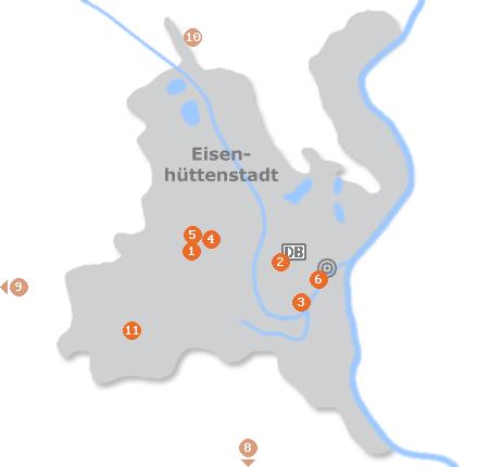 Karte mit Pensionen und anderen Unterkünften in Eisenhüttenstadt