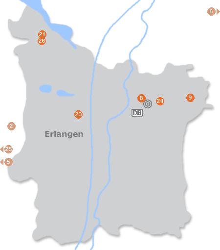 Karte mit Pensionen und anderen Unterk�nften in Erlangen