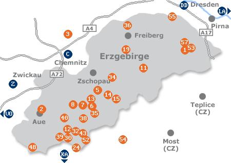 Karte mit Pensionen und anderen Unterk�nften im Erzgebirge