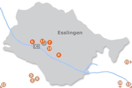 Karte mit Pensionen und anderen Unterk�nften in Esslingen am Neckar