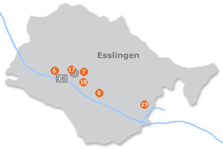 Karte mit Pensionen und anderen Unterkünften in Esslingen am Neckar