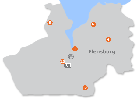 Karte mit Pensionen und anderen Unterkünften in Flensburg