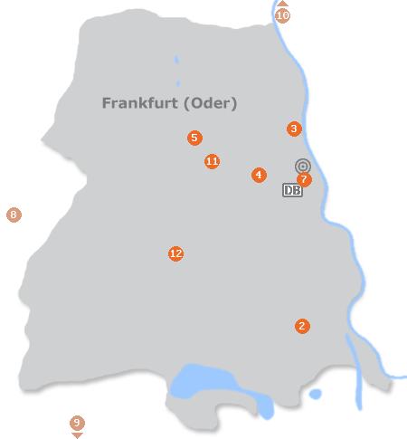 Karte mit Pensionen und anderen Unterkünften in Frankfurt (Oder)