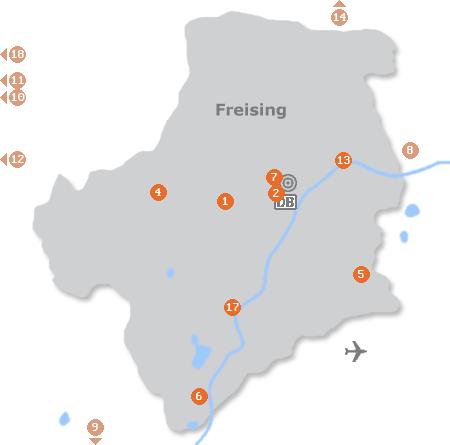 Karte mit Pensionen und anderen Unterkünften in Freising