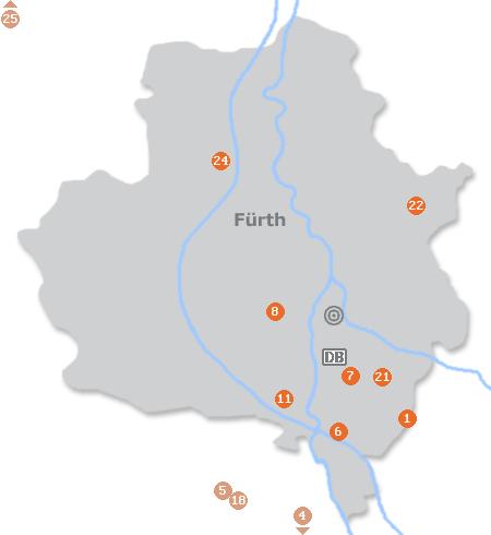 Karte mit Pensionen und anderen Unterkünften in Fürth