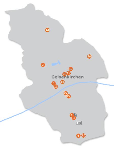 Karte mit Pensionen und anderen Unterkünften in Gelsenkirchen