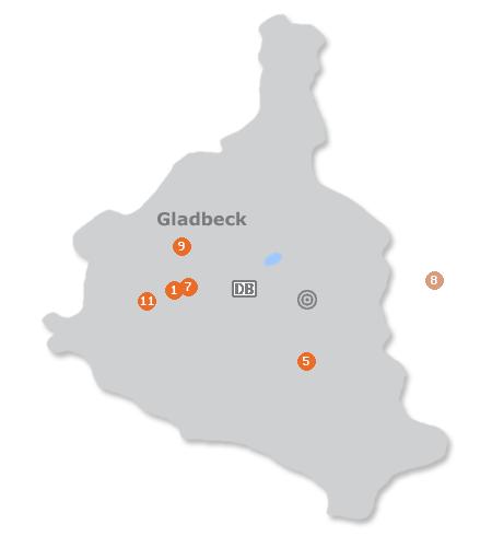Karte mit Pensionen und anderen Unterkünften in Gladbeck