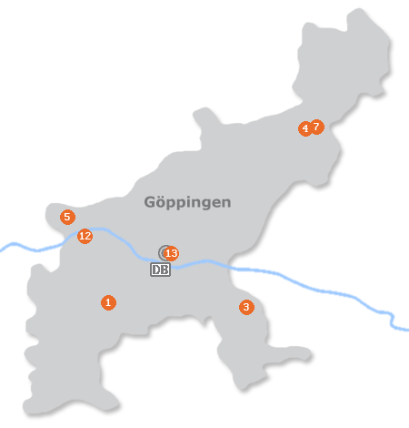 Karte mit Pensionen und anderen Unterk�nften in G�ppingen