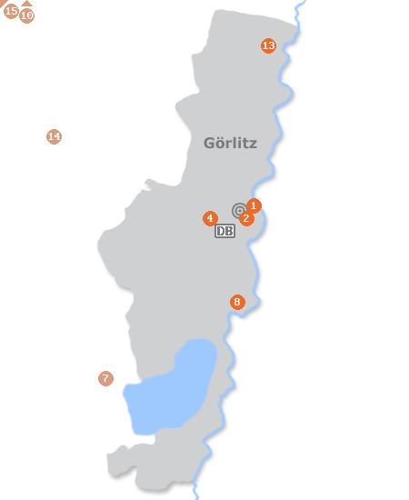 Karte mit Pensionen und anderen Unterk�nften in G�rlitz