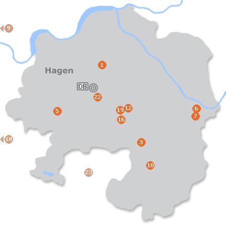 Karte mit Pensionen und anderen Unterkünften in Hagen
