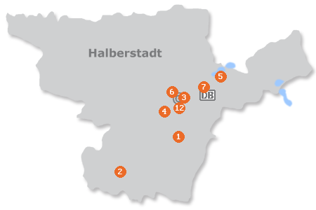 Karte mit Pensionen und anderen Unterkünften in Halberstadt