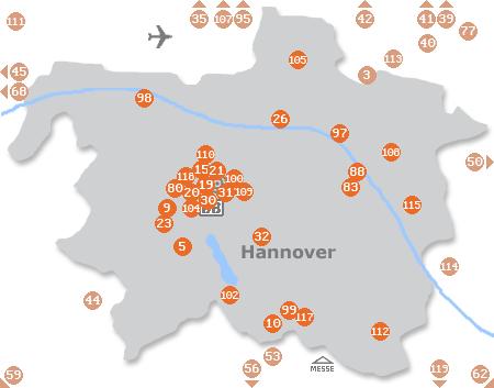 Karte mit Pensionen und anderen Unterkünften in Hannover