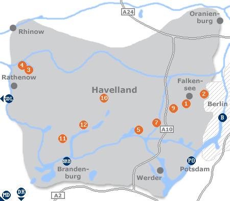 Karte mit Pensionen und anderen Unterk�nften im Havelland