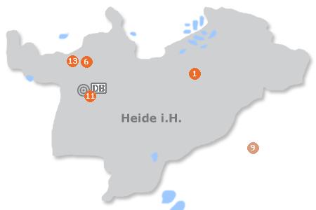 Karte mit Pensionen und anderen Unterkünften in Heide (Holstein)