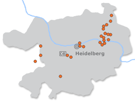 Karte mit Pensionen und anderen Unterk�nften in Heidelberg