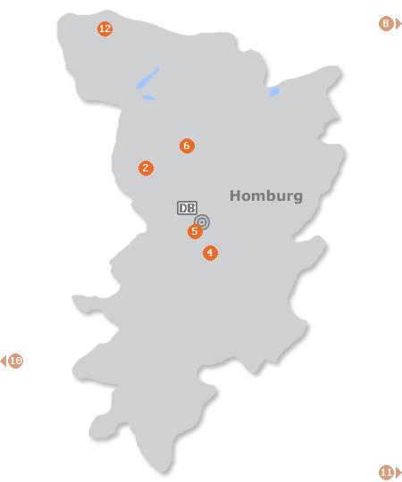 Karte mit Pensionen und anderen Unterk�nften in Homburg
