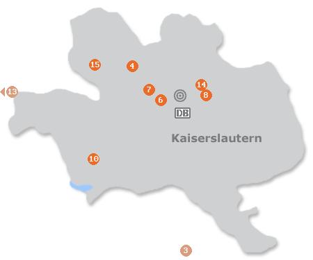 Karte mit Pensionen und anderen Unterkünften in Kaiserslautern