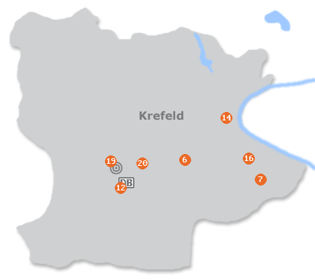 Karte mit Pensionen und anderen Unterk�nften in Krefeld
