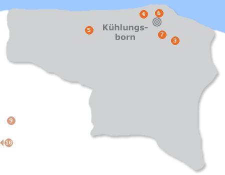 Karte mit Pensionen und anderen Unterkünften in Kühlungsborn
