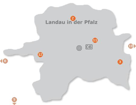 Karte mit Pensionen und anderen Unterkünften in Landau in der Pfalz